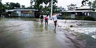 Flooding of Deluti village after cyclone Amphan - source Dhaka University 2020